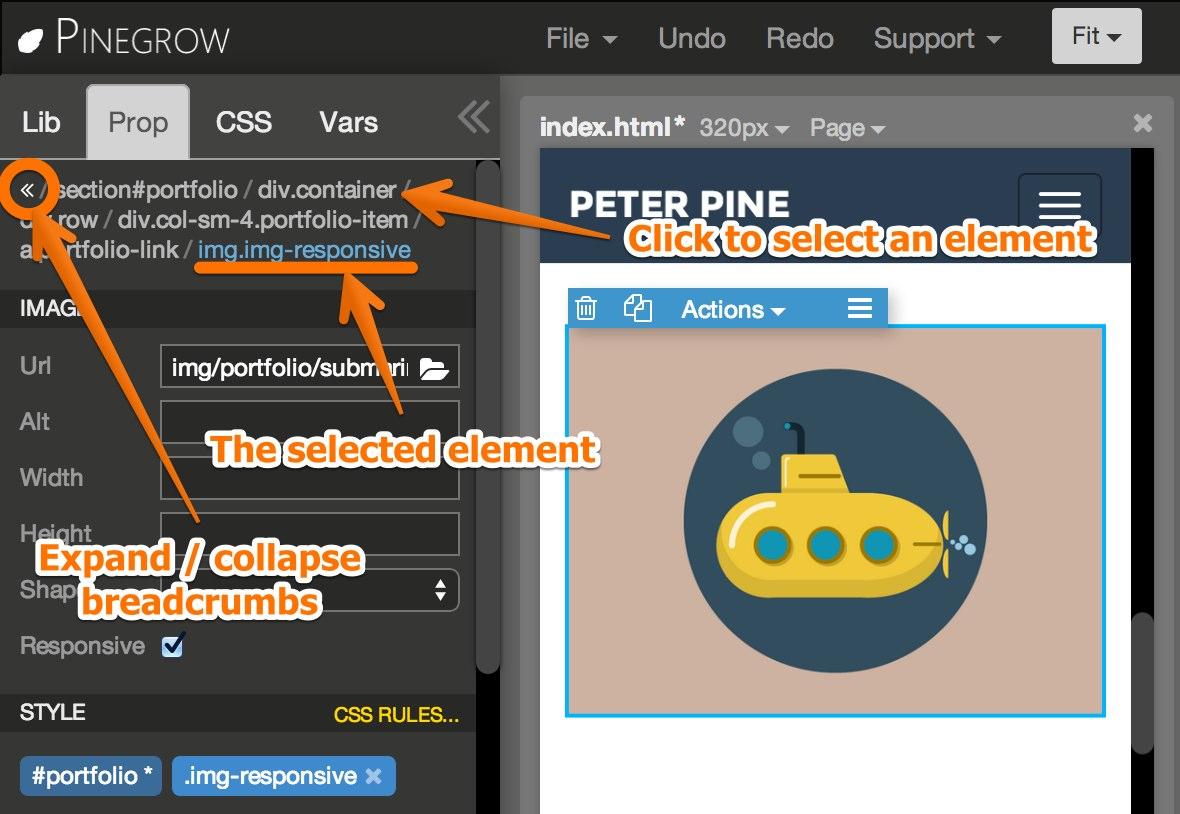 Editing elements | Pinegrow Web Editor