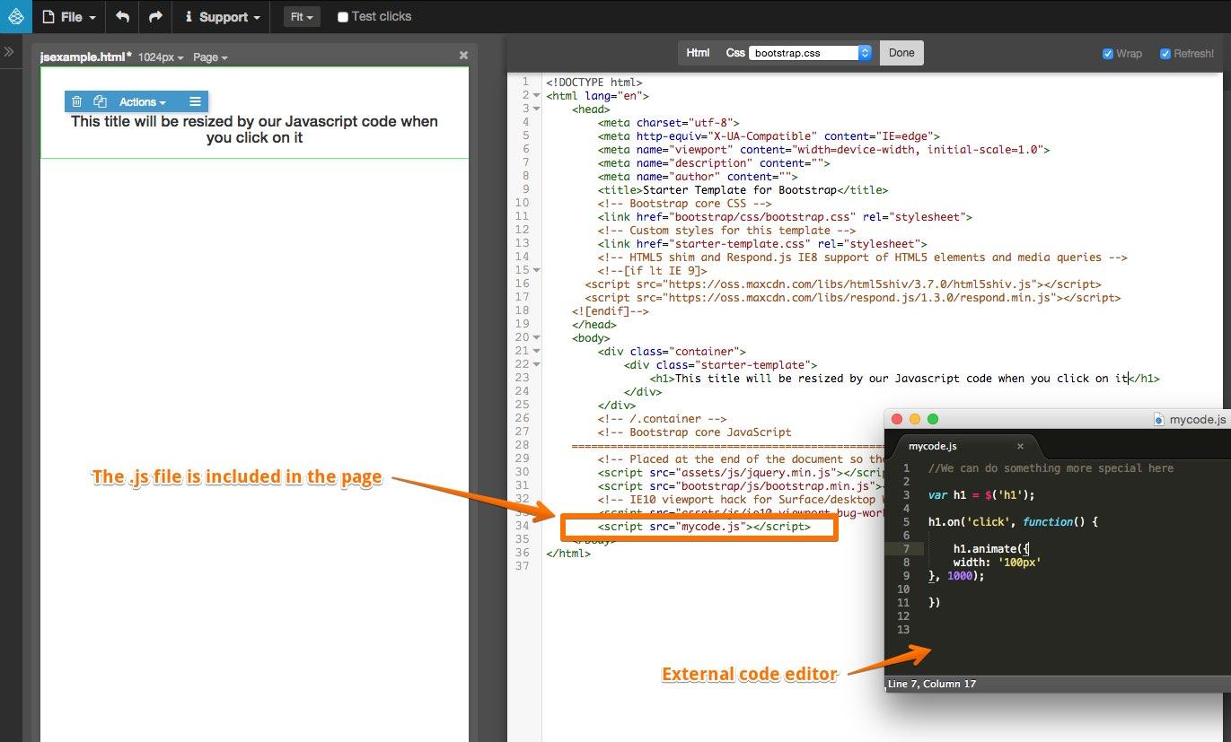 Using Javascript | Pinegrow Web Editor