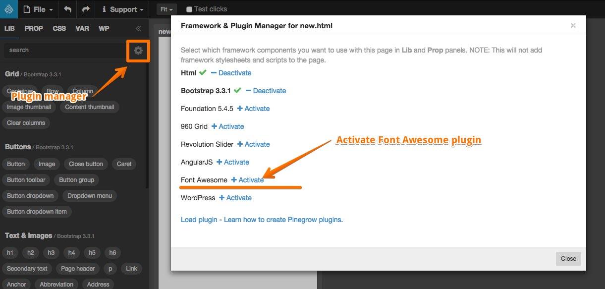 Font Awesome plugin   Pinegrow Web Editor