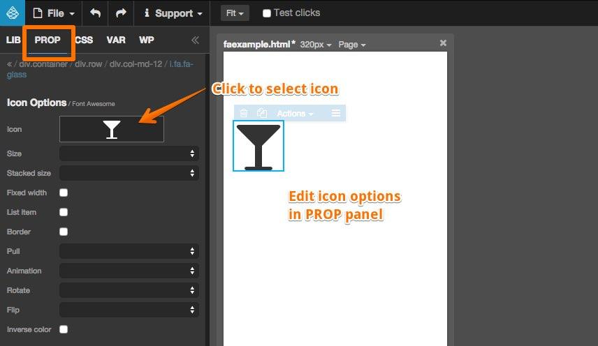 Font Awesome plugin | Pinegrow Web Editor