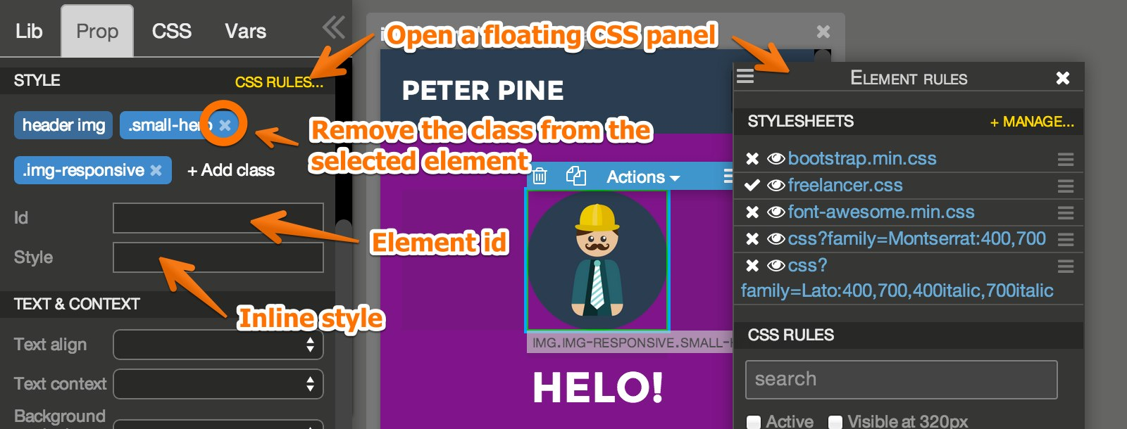 Style your page with CSS | Pinegrow Web Editor