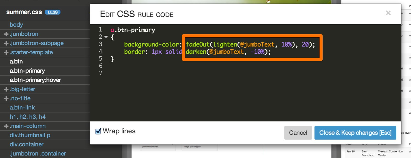 using variables in css rules pinegrow web editor