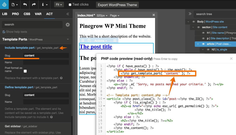 creating wp themes pinegrow web editor