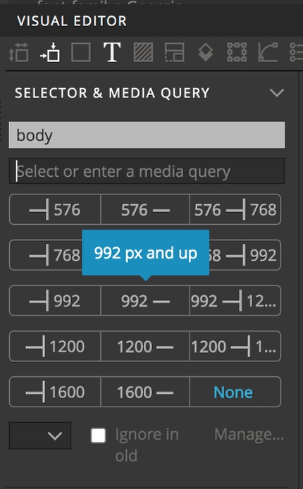 Pinegrow has easy media query selection