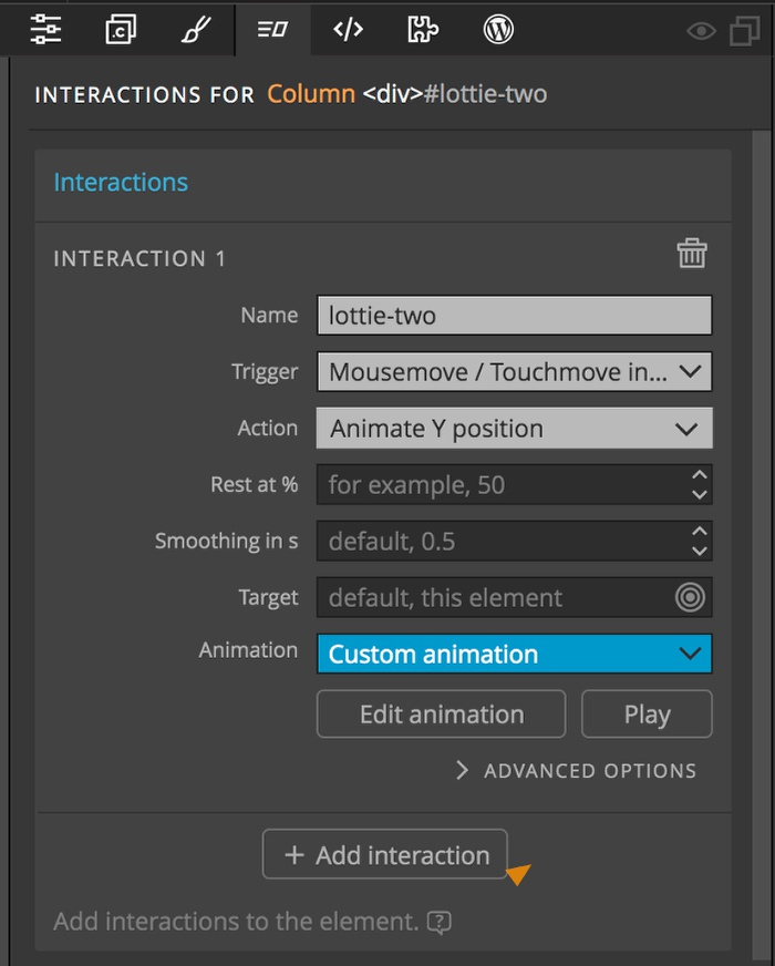 Pinegrow Interaction animation settings