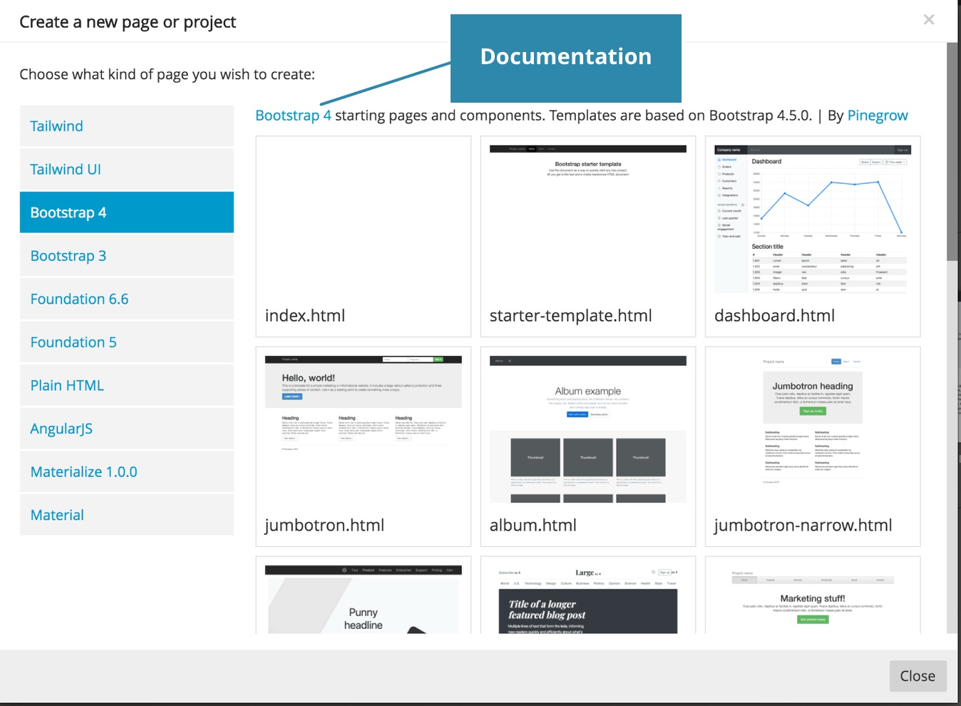 Screenshot of the framework and template selection modal.