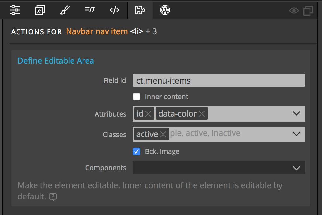Screenshot of the Pinegrow Define Editable Settings