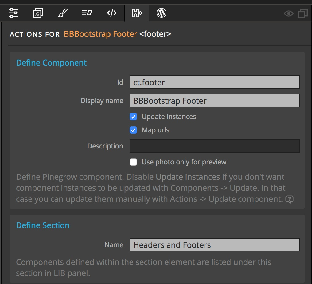 Screenshot of the Pinegrow Define Component and Section settings for the tutorial footer